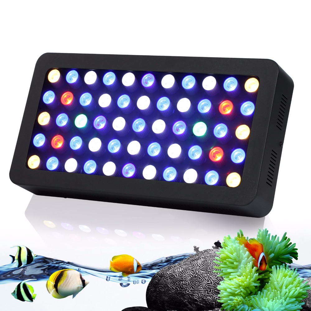populargrow 165w Dimmable Led Aquarium Light Full Spectrum led lighting for Reef Coral Fish Tank Lamp 100% High Quality 100w lumia 5 1 diy aquarium led light sunrise sunset dimmable led aquarium light 100w remote auto dim coral reef led lighting