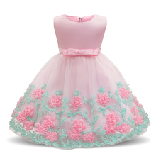Summer Baby Girls Lace Dress For 1 year Birthday Party Dress Newborn Girls Flower Dresses 0-2 yrs  Infant Toddler Baby Clothing