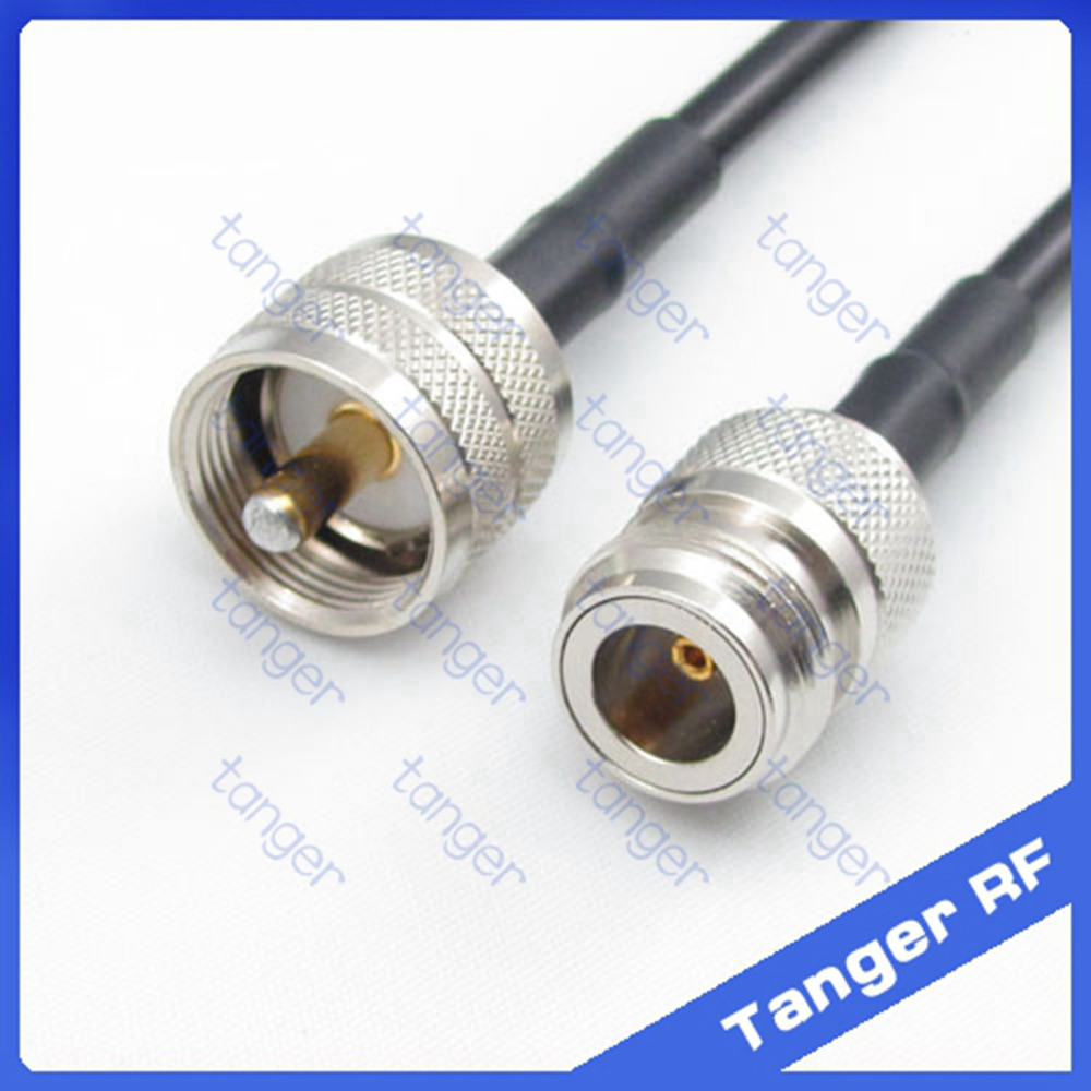 все цены на Hot sale Tanger UHF male plug PL259 SL16 to N female jack straight RF RG58 Pigtail Jumper Coaxial Cable 20inch 50cm High Quality