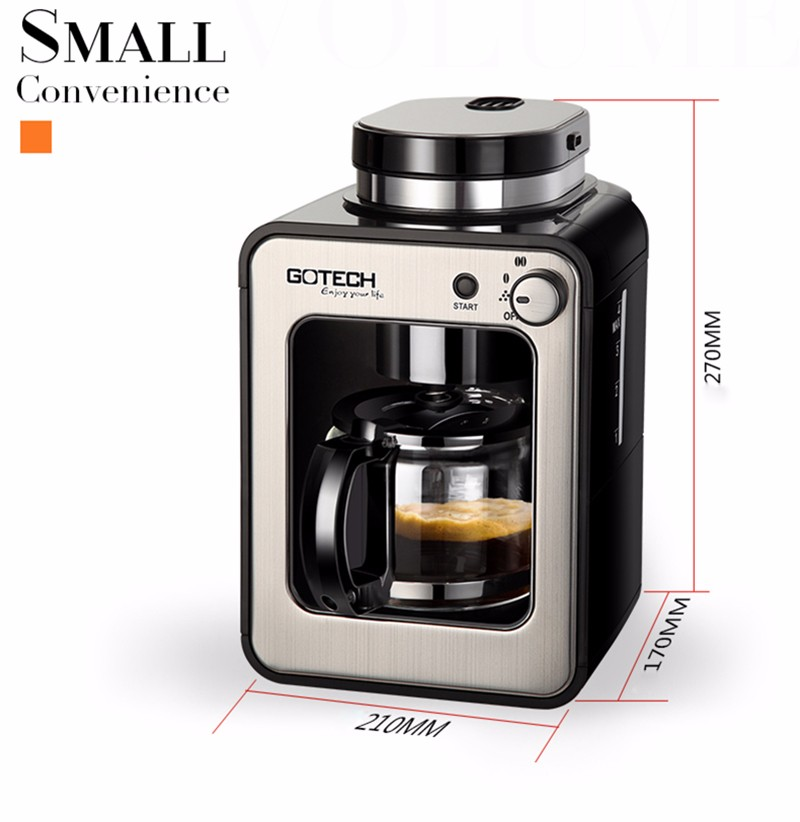 freeshipping 580mL capacity 600w power Full Automatic Coffee Machine Home Business New Generation Intelligent Induction Grinder