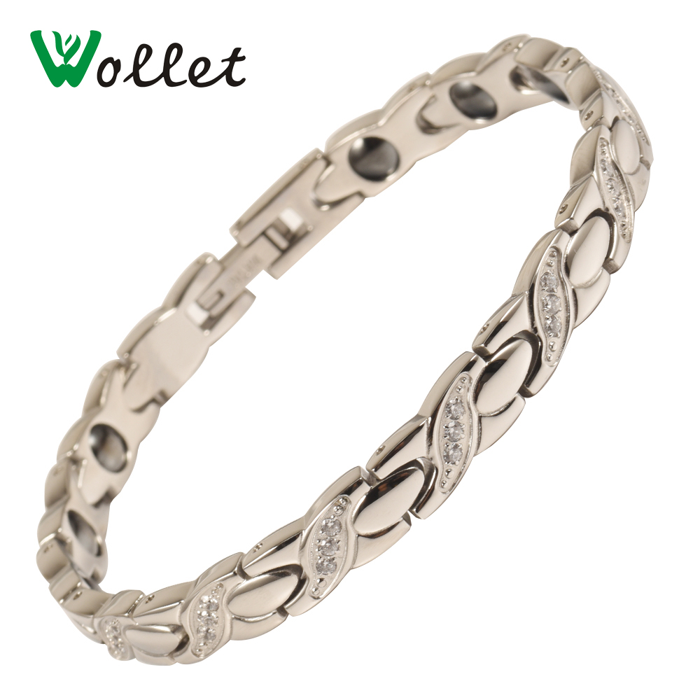 Wollet Jewelry Stainless Steel Bracelet For Women CZ Stone Metallic Color Germanium Hematite Negative IonHealth Healing Energy in Chain Link Bracelets from Jewelry Accessories