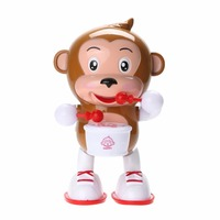 Cute Electric Dancing Drumming Toy Monkey LED Light Flashing Music Sound Toy Baby Kids Drum Monkey