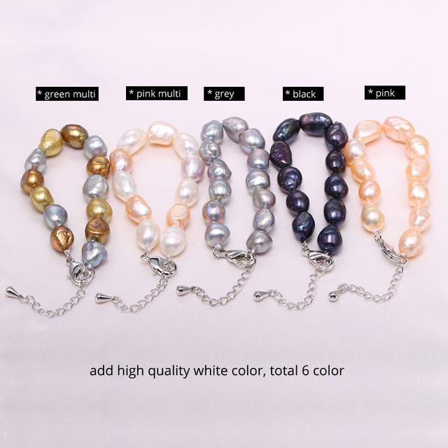 Women Natural Freshwater 9-10mm Pearl Bracelet 6 Colors