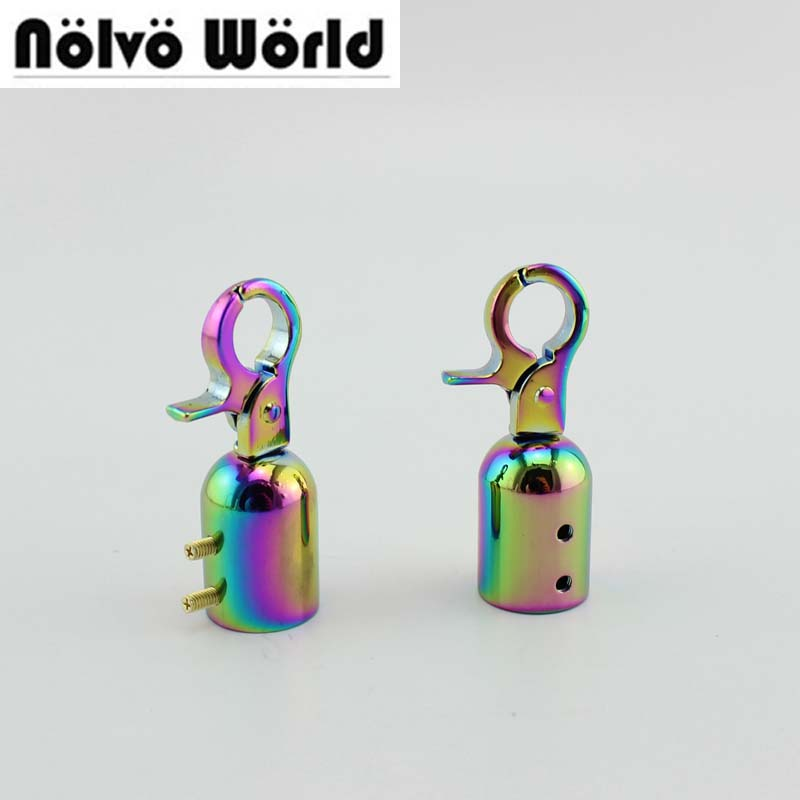 10pcs 30pcs 50*15mm Rainbow Metal Fitting Hardware Handbag/bag's Tassel Cap Clasp Hook Screw Connector Bag Hanger