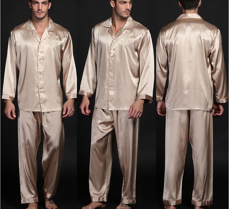 2017 Real Sale Rayon Mens pajamas set Summer Men  Emulation Button Pyjama Full Sleeve Male Pijama Embroidery Sleepwear 856