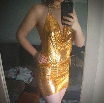 YACKALASI Club Women Party Dress Kendall Jenner Metal Mesh Spaghetti Strap Sheath Draped Hollow Out Spark Diamonds Neck Halter 2