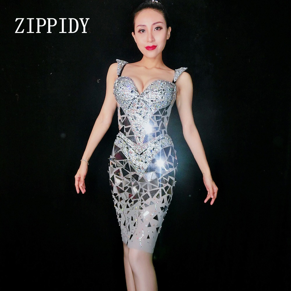 New 2018 Sexy Sequins Mirrors Mini Dress Women Birthday Rhinestones Costume Prom Celebrate Gray Bling Stage Show Dresses