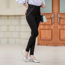 2017 Womens Pencil Pants Tummy Control Plus Size Stretchy Office Fold-over Pants Pull-On Bootcut Leggings Spring Women Trousers