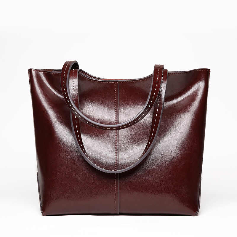 Women handbags 2019 new soft Oil wax leather large capacity women handbags genuine leather fashion female casual Shoulder bags