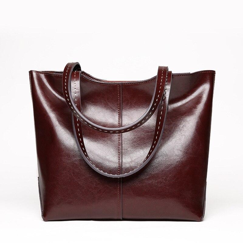Femmes sacs à main 2018 nouveau doux Huile cire en cuir grande capacité femmes sacs à main en cuir véritable de mode D'épaule occasionnel des femmes sacs