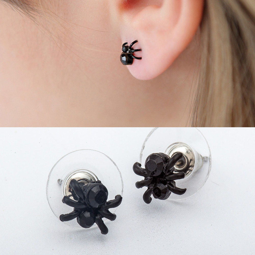 10 pairs/lot Men Spider Stud Earrings Women Black Animal Earring Punk Ear Jewelry Female Pendientes Fashion Accessory