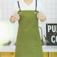 Green Canvas Bib Apron w/ Leather Strap Barber Barista Florist Cafe Bar BBQ Chef Uniform Carpenter Painter Gardener Workwear K10