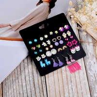 DANZE 20 paare/satz Nette Kristalle Herz Blumen Einhorn Tiere Frauen Mädchen iercing Ohrring Stud Schmuck für Kind Geburtstag Geschenke