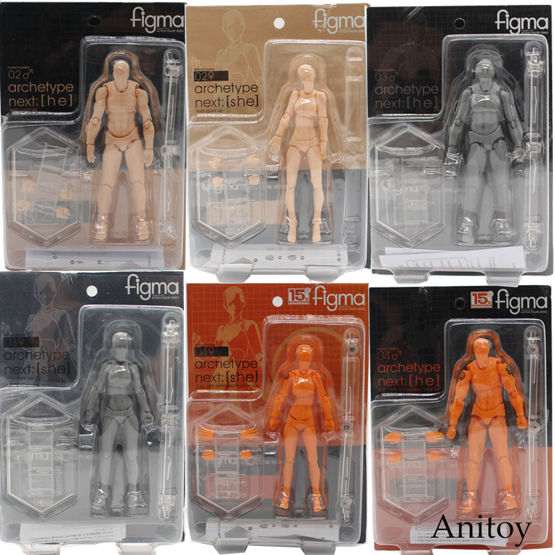 Figma BODY KUN / BODY CHAN Grey Orange Yellow PVC Action Figure Model Toys 14cm KT3739