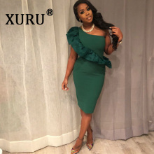 XURU new sexy womens ruffled dress fashion casual summer hot shoulder bag hip solid color