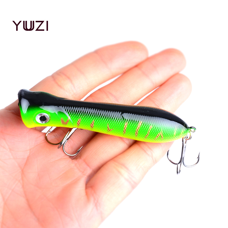 YUZI 2018 New Popper Wobbler Fishing lure With 6# hooks 8cm12g floating crankbait artificial bait poper pesca carp pike 1pcs