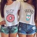 2016 moda Quente do Verão As Mulheres T-shirt Engraçado Melhores Amigos Camiseta Rosquinha E Café Duo Flowy Imprimir Tees Tops Casal