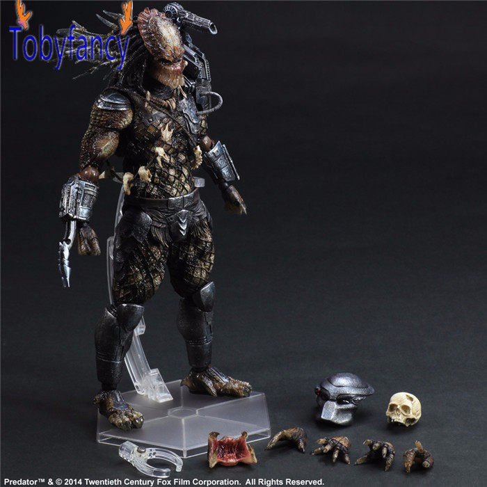Playarts Kai Action Figure Predator Master Wolf Anime Toy Movie Alien Hunter Play Arts Kai Predator 260mm Collection Model batman joker action figure play arts kai 260mm anime model toys batman playarts joker figure toy