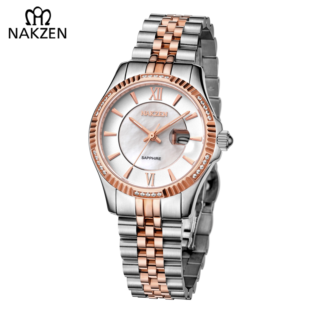 NAKZEN Ladies Watch Luxu Crystal Stainless Steel Elegant Quartz Watch Belt Fashion Casual Easy Read Wrist Watches Woman's Gifts 2016 new ladies fashion watches decorative grape no word design gold watch stainless steel women casual wrist watch fd0107