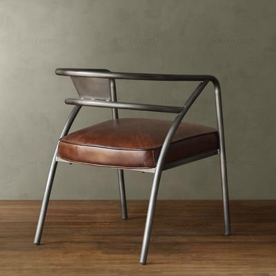 Américain pays vintage en cuir rond soutenu fauteuil de fer café