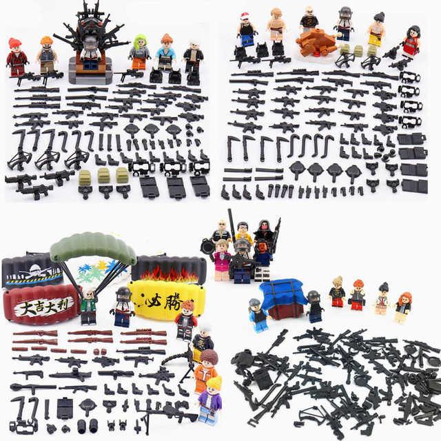 6pcs/lot PUBG Game Figure Weapons Set Playerunknown's Battlegrounds Model Building Blocks kits Brick Toys