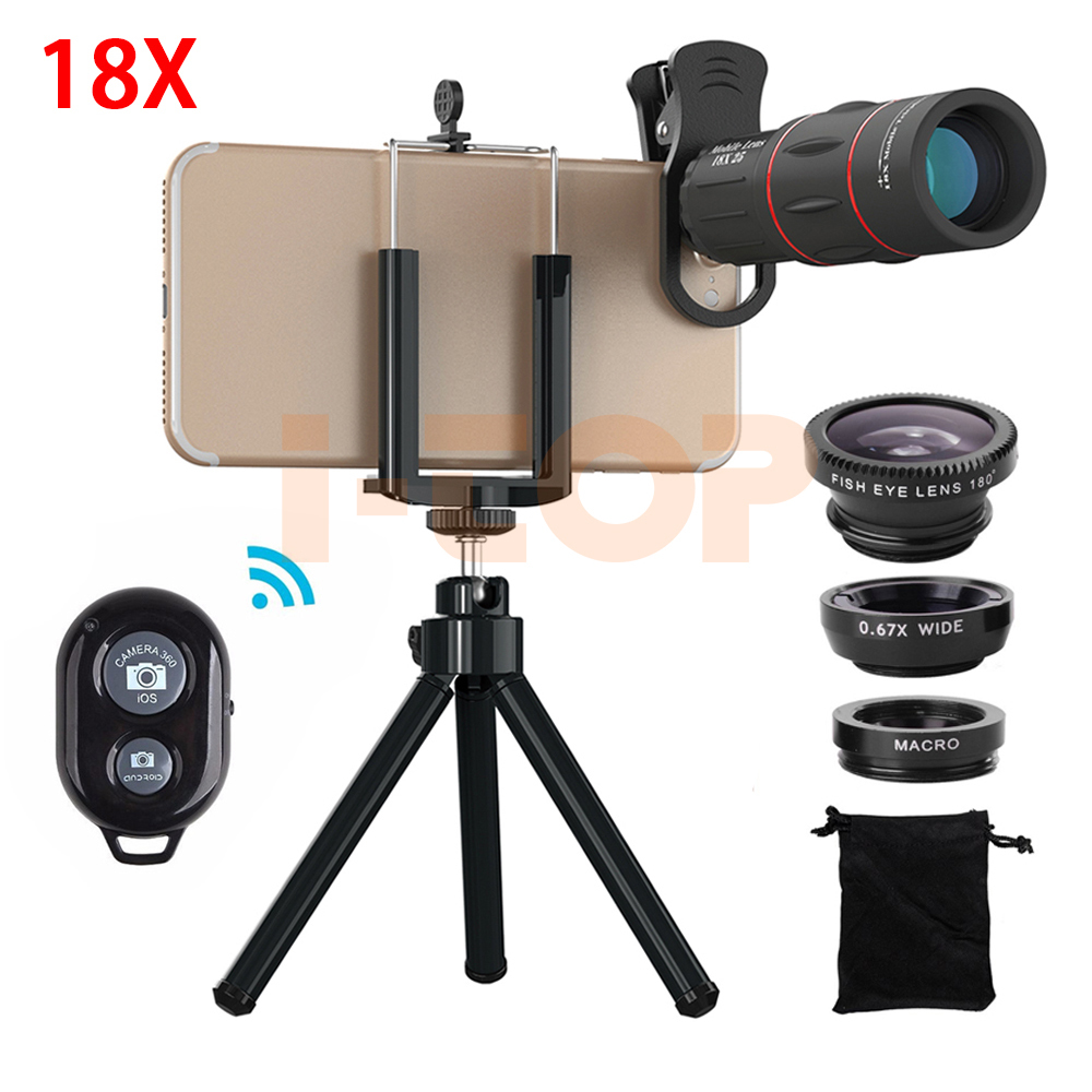 New Universal 18X HD Telephoto Zoom Lenses Telescope Lenses Macro Fisheye Wide Angle Lentes For iPhone 8 Plus X With Clip Tripod