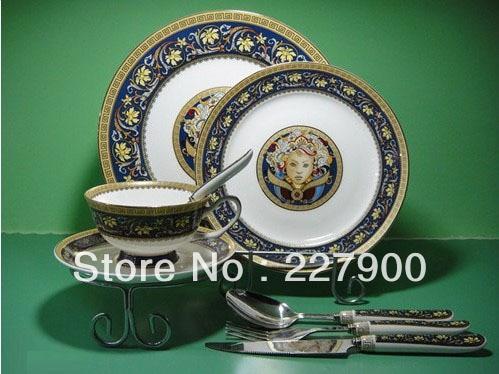 Chinese Best Luxury England Bone China Dinnerware Set Beautiful Figure Oil Painting Dinner Porcelain