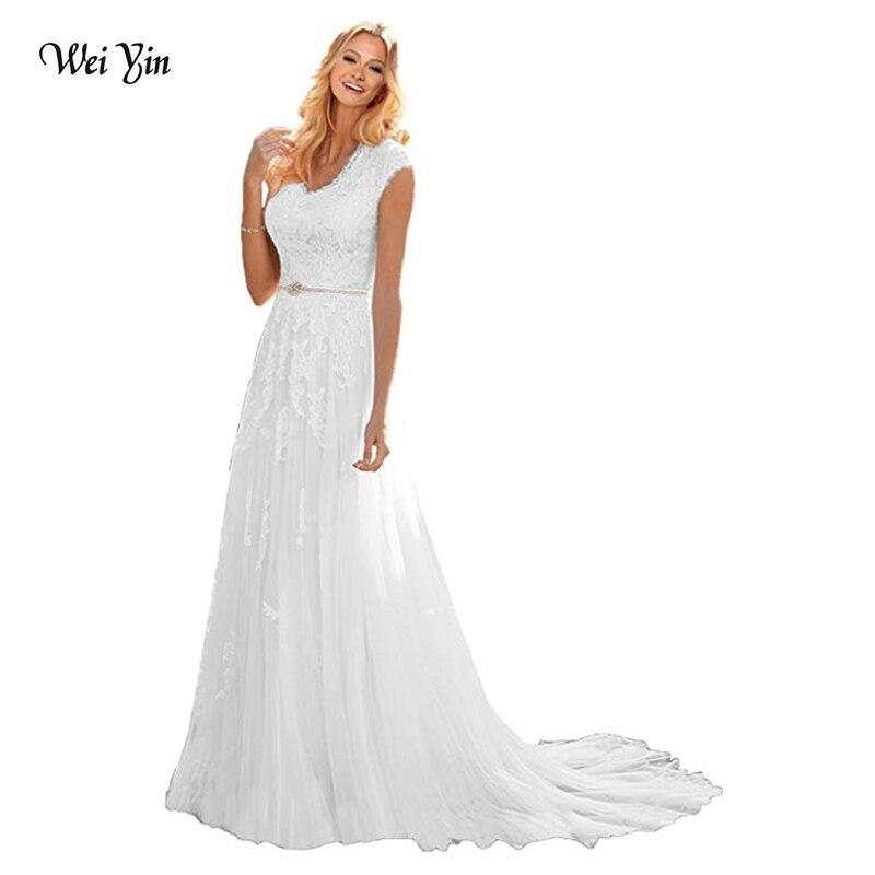 Weiyin Tulle Mariage robes de Novia broderie sans manches dentelle a-ligne robe de mariée 2018 robes de mariée grande taille personnalisé