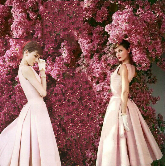 Free Shipping Audrey Hepburn by Norman Parkinson Light Pink Cocktail Party Dress 2015 Pleated Knee Length Homecoming Gown JW302