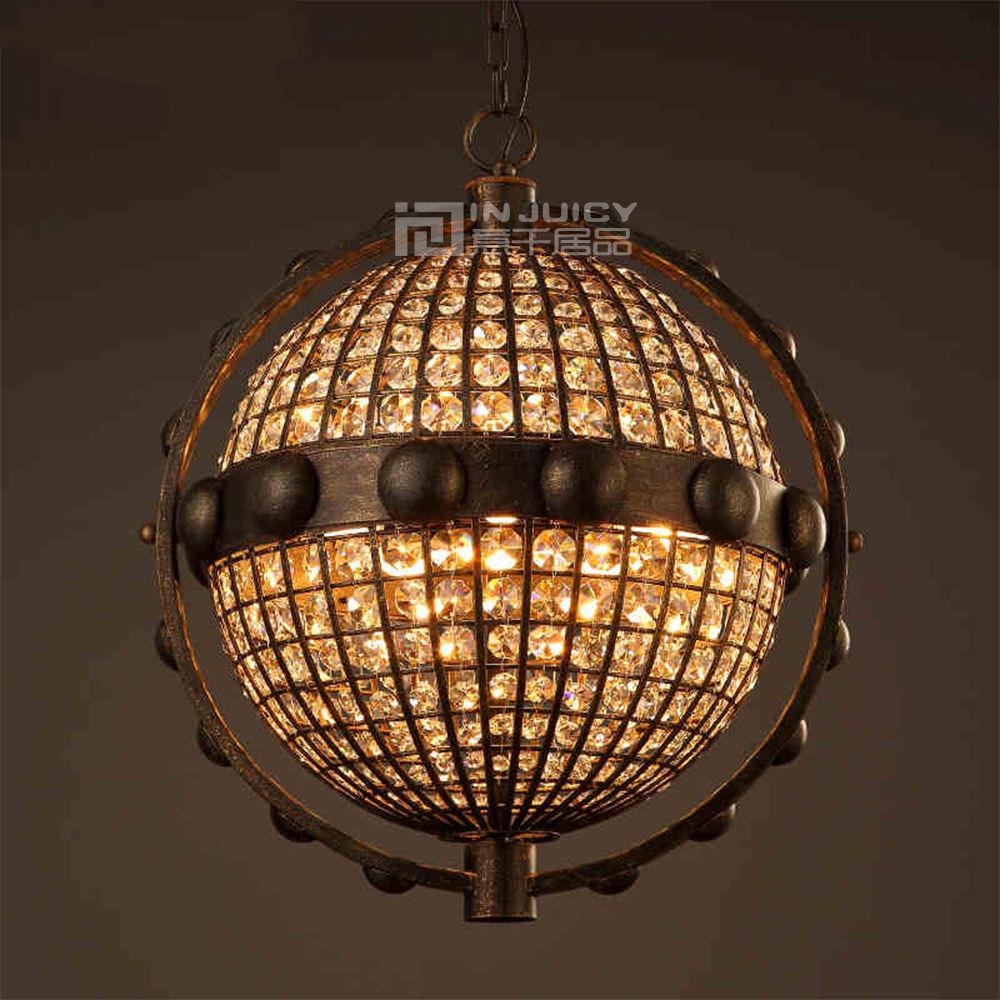 Loft Retro Globe K9 Crystal Wrought Iron Edison Pendant Lights Lamp Vintage Metal Restaurant Cafe Bar Pendant Lighting Droplight vintage loft industrial edison flower glass ceiling lamp droplight pendant hotel hallway store club cafe beside coffee shop