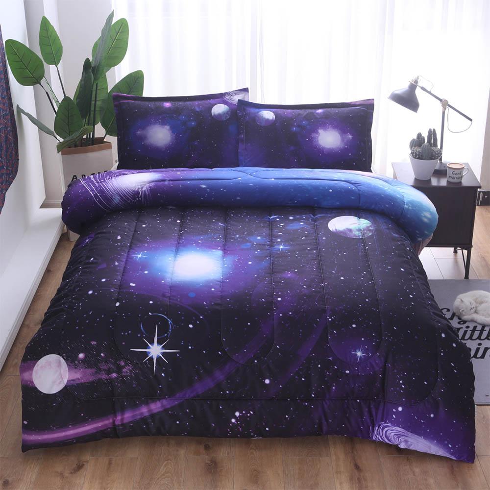3d Galaxy Universe Adulti Letto Copriletto Copertura Di Inverno Caldo E Confortevole Solido Puro Cotone Blu Copriletto Trapuntato & Copriletto Set