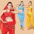 4 unids Egipto Bellydance Traje de Vestido de la danza Del Vientre Traje Indio de Bollywood Mujeres Coin Conjuntos Traje de la Danza Del Vientre Tribal Falda
