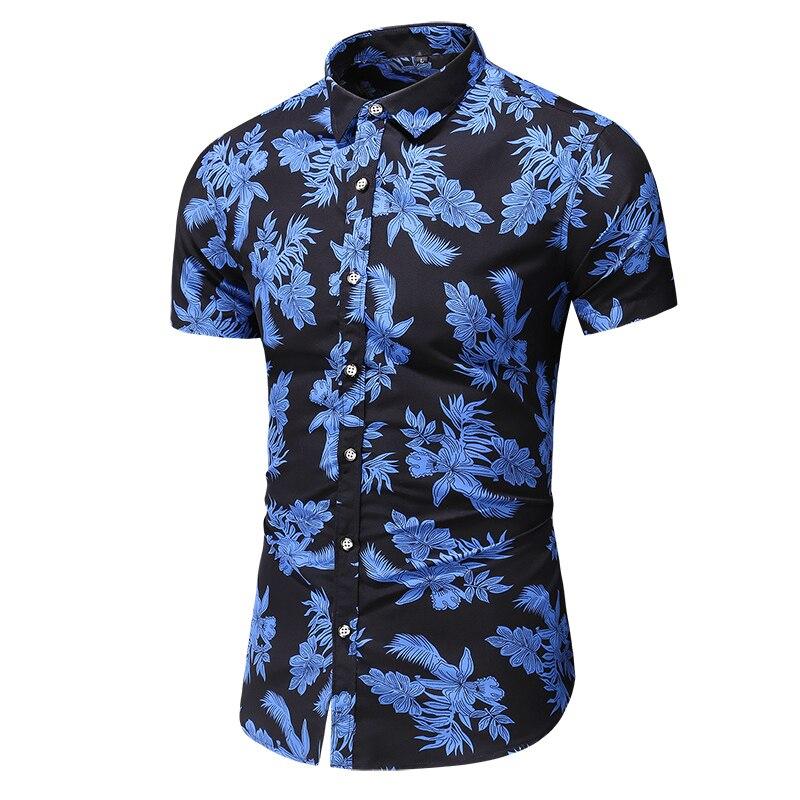 M-6XL 7XL Mens Shirts Casual Slim Fit Hawaiian Shirt Men Summer Shirt New Style Print Mens Short Sleeve Shirts