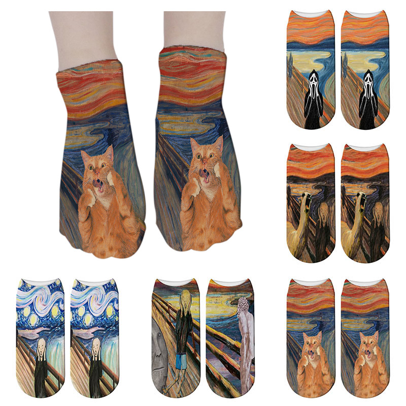 SexeMara Women 3D Printed Socks Van Gogh Art Socks Harajuku Retro Classic Oil Painting Unisex Ankle Sock Female Funny Art  Sock