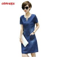 Large size cowgirl dress 2019 Summer New V neck Embroidered flower Medium Long section Boutique Women's dresses ODFVEBX AH111