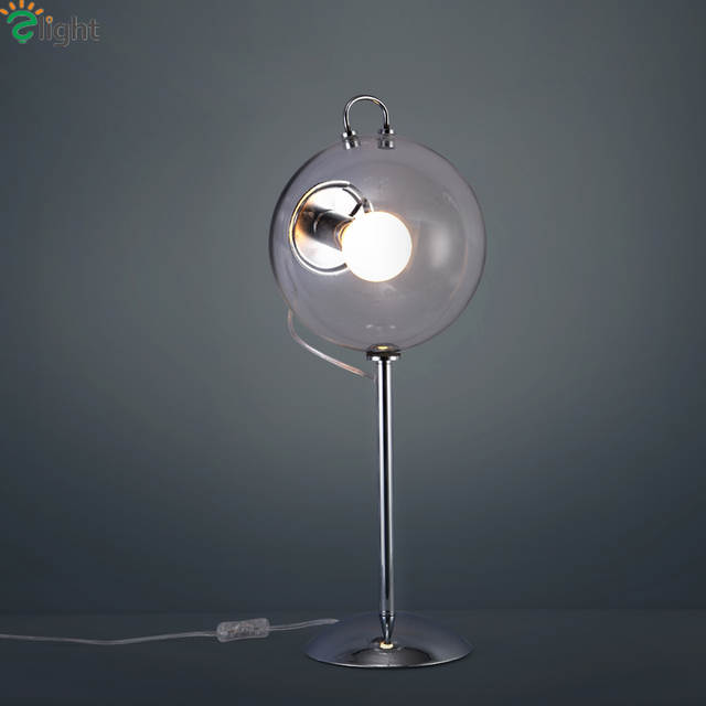 Online Shop Nordic Simple Clear Glass Ball E27 Led Table Lamp Lustre