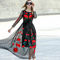 Great brand Runaway  2016 Newest  Fall Fashion Slim Elegant ORganza Vintage Black Ebroidery Flower Casual Long Dress Women