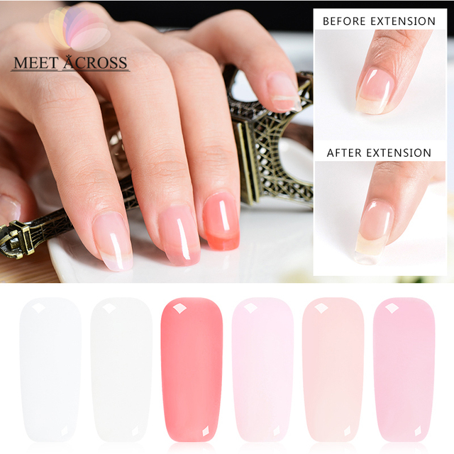 US $2 08 |MEET ACROSS 7ml Quick Nail Gel Polish Fast Tips Finger Extension  Clear Pink Nude Glue Nail Art UV Gel Lacquer Manicure Tools-in Nail Gel