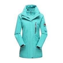 Winter Women ski 3 in 1 Jacket Windproof Warm Fleece Windbreaker Outdoor Fishing Hiking Camping Tourism Female Coat M-4XL