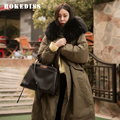 2017 Winter Women Warm Thick Long Down Parkas Casual Plus Size Loose Faux Fur Trim Hooded Parkas Army Green Black Gray TG270