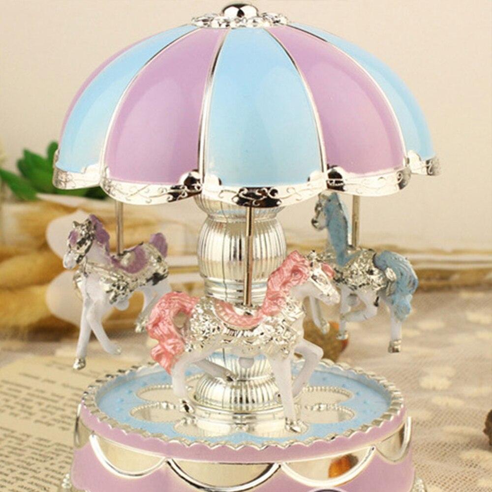 Изысканная музыкальная шкатулка карусель круглые цветные светодиодные лампы карусель детская игрушка Рождественский подарок на день рождения День Святого Валентина Свадьба