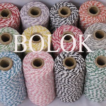 1 piece(110yards) 19 kinds color choose double color Cotton Baker twine(dia.: 2mm for gift packing, cotton twine 12ply BY EMS