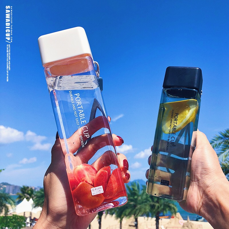 Cute Plastic  bottle 450ml for Water Bottles to drink with Rope Transparent or Frosted Sport Korean style Heat resistant Cup|Water Bottles| |  - AliExpress