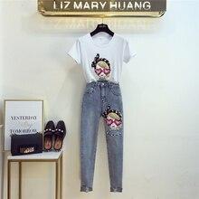 e783eb1b337dc Yeni Yaz Moda kadın Setleri Batı Tarzı Yama Kız Kısa Kollu T-Shirt + Uzun  Denim kalem pantolon Öğrencileri Kot Takım Elbise