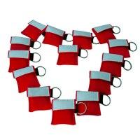Оптовая продажа 500 шт. CPR маска для защиты лица CE одобренный оказание первой помощи маска красная нейлоновая сумка с брелоком односторонний