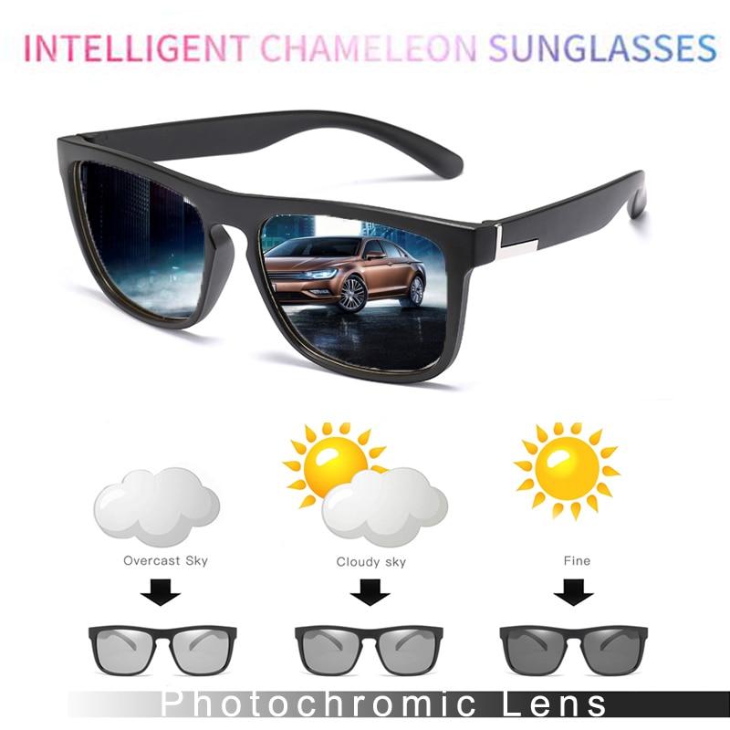 Hd polarizado photochromic óculos de sol homem condução camaleão masculino dia e noite visão motorista óculos sol hombre