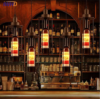 IWHD Retro Indoor Lighting Vintage Bottle Pendant Light LED lights Iron cage lampshade American style light fixtureS Lamparas