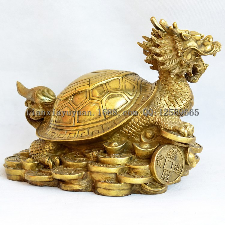 brass cafts chinese carved coin bagua dragon turtle statue home decoration feng shui metal. Black Bedroom Furniture Sets. Home Design Ideas