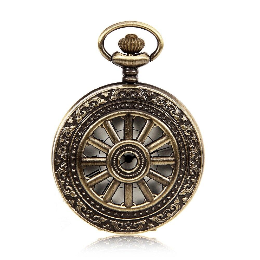 Antique Style Bronze Tone Case Mens Quartz Movement Pocket Watch Roman Number Dial W/Chain Luxury Timepiece Relogio De Bolso