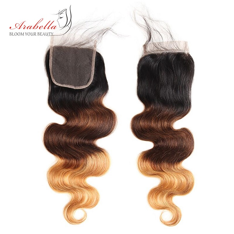 1B/4/27 Ombre   Bundles With Closure Arabella Body Wave 100%  Hair  With Closure Free/Three Parts 4